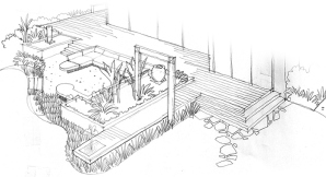 Informative sketch of outdoor entertaining area. Sunken seating nook, water features, expansive decked areas. Local hard materials and plants.